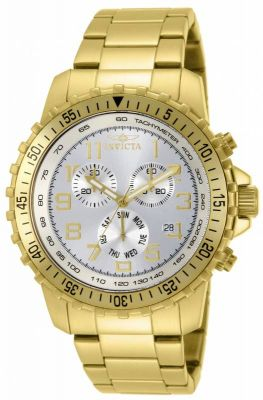 Invicta 11369 Men's Specialty Pilot Gold Tone SS Silver Dial Chronograph Watch