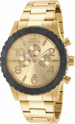 Invicta 15160 Men's Specialty Chronograph Gold Dial Yellow Gold Steel Bracelet Watch