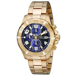 Invicta 17718 Men's Specialty Black & Blue Dial Yellow Gold Steel Bracelet Chronograph Watch