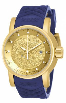 Invicta 18215 Men's S1 Rally Automatic Yellow Gold Steel Blue & Beige Silicone Strap Watch