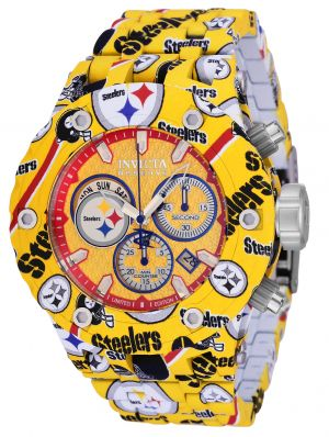 Invicta Men's 34736 NFL Pittsburgh Steelers Quartz Chronograph Yellow, Red, Silver Dial Watch